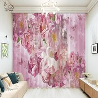 Curtain & Drapes Modern Peony Plant Flower Painting Girl Bedroom Curtains Office Window Pergolas For Garden Room Rope Divider