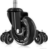 Roulettes de chaises de bureau AMZDEAL, 5 pièces Roues 360 degrés Rotation 11mm x 22mm roulettes avec capacité de charge jusqu'à 200 kg