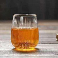 Wine Glasses 200ml Home Striped Water Cup Straight Office Tea Vertical Pattern Glass Simple Handleless