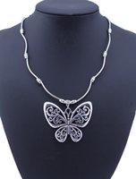 Новое поступление старинные этнические тибетские посеребренные богемные резные полые бабочки подвески ожерелья для женщин Bijouterie Femme