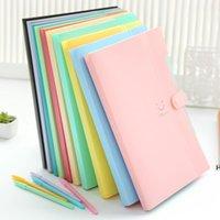 4 Color A4 Lindas Carpetas Suministros Suministros Smile Impermeable File Folder 5 capas Bolsa de documento Oficina Papelería DHE5733
