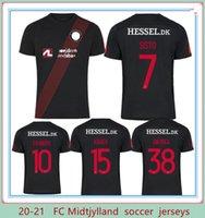 2021 2022 FC Midtjylland Maillots de Soccer Jersey 2021 Black Danemark Club à manches courtes Homme Football Shirts Uniforme