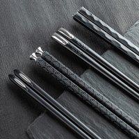 5ペアのお箸セット尖ったチョッスティックは、一般的に家庭用の箱と243mm黒ディナー箸の箱