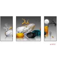 Hottest Modern adornment Pinturas de tres paneles Decoración para el hogar Fotos Arte de la pared Cuadrado 40 * 40 cm DIY con marco de madera maciza para porche de dormitorio