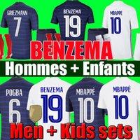 Maglia da calcio BENZEMA 19 Francia Maglia da calcio 2021 Maglia da calcio Euro Cup 21 22 Maglia da calcio francese Coppa Europa MBAPPE GRIEZMANN Maglia da uomo + kit per bambini