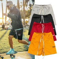 2021 Yüksek Kalite Tasarım erkek Plaj Pantolon Spor Spor Katı Renk Cilt Dostu İnce Bölüm Nefes Casual Şort Kod M-3XL