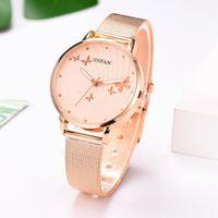 Frauen Edelstahl Armbanduhr Metall Mesh Rose Gold Schmetterling Mode / Luxus Damen Quarz Relogio Feminino Armbanduhren