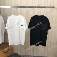 21s homens impressos t shirt polos desenhador desenhador triângulo bolso paris roupa de manga curta mens camisa tag solto estilo preto