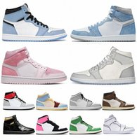 2021 Sapatos de Basquete 1 Homens Mulheres 1s High OG Jumpman Universidade Azul Dia dos Namorados Hyper Royal Mid Light Fumo Cinza Chicago Dark Moc S1Sc #