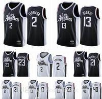 Pas cher respirant Los Angelesclippersmen Kawhi Ivica Paul George Zubac Leonard Lou Williams Patrick Beverley Black Blanc Basketball Jersey