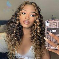 1B / 27 Renkli Kıvırcık Dantel Parçası İnsan Saç Peruk Pre-Pretted Ombre Malezya Remy Ön Siyah Kadınlar Için Ağartılmış Knot
