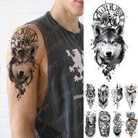 Horloge de tatouage temporaire imperméable horloge orange yeux bleu loup tatouages tatouages lion boussole arbre corporel arc faux tatoo femmes hommes