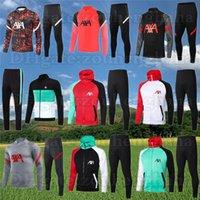 2022 Erkek Futbol Eşofman Tam Zip Ceket Hoodie 20 21 22 Erkekler Yarım Fermuar Futbol Eğitimi Takım 2021 Survetement Ayak Chandal