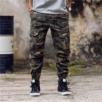 Yeni Varış Moda Erkek Kamuflaj Koşu Pantolon Fermuar Tulum Kiriş Ayak Pantolon Düzensiz Pantolon Hip Hop Erkek Pantolon 28-40
