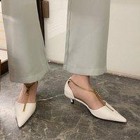 Dress Shoes Brand Women Low Heels Pumps Sandals Shallow Pointy Toe Front Zip Ladies Office Stiletto Heel