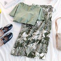 Zwei Stück Kleid 2021 Sommer Casual Chiffon Röcke Set Frauen Solide O Hals T-shirt + Hohe Taille Bogen Wickel Rock Strand Stil Blattdruck Boho Twin
