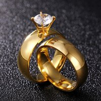 Wedding Rings Classic 316L Stainless Steel For Bride Band Gold Zircon Couple Anniversary Ring Silver Lover's Jewelry