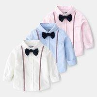 Shirts Boy Blouse Spring 2021 Long Sleeve Children's Cotton Cartoon Bow Tie Clothes Baby Top Lapel Boys Shirt