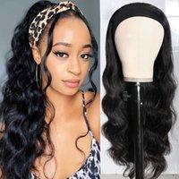 Парик человеческих волос 55см полный набор заголовки парики большая волна длинный кудрявый YKL603