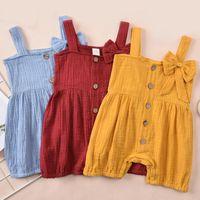 Jumpsuits Solid Infants Baby Boys Girls Shirt Sleeveless Sports Sleeping Romper High Waist Buttons Clothes