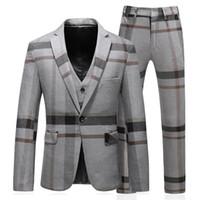 Gli uomini di stile si adattano a un matrimonio classico classico personalizzato 3pcs a righe griglia a righe blazer pantaloni slim fit smoking uomo