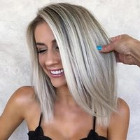 Synthetic Wigs HAIRJOY Women Straight Middle Part Short Silver Grey Hair Wig Heat Resistant Fiber