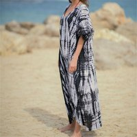 2020 rayas irregulares sueltas de verano vestido de playa más tamaño mujeres ropa de playa kaftan bohemia murciélago manga manga vestido maxi vestidos n969