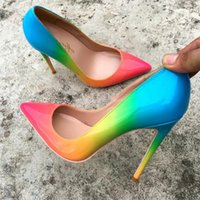 Free Ship fashion woman women lady 2019 Rainbow color Patent Leather heels Stiletto High Heels shoes bottom sole pumps red