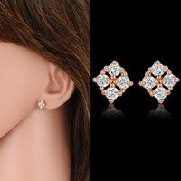 Stud Retro Mini Rhinestones Female CZ Earrings Sweet Small Crystal