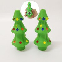 Green Christmas Tree Silicone Pipe With Glass Bowl FDA Silicon Copper Pipes Spoon Christmas-Gift Box easy cleanings