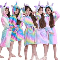 Unicorn Детские халаты с капюшоном Baby Rainbow Rainbow Ванна Халат Животное для мальчиков Девушки Pajamas Nightgown Дети Пижамы 3-11Y 1303 Y2