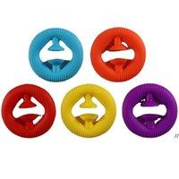 DECOMPRESIÓN Juguete Presione Silicona Candy Colors Anti estrés Para Ejercicio Brazo Relajante Músculo Entrenamiento Cinco juguete Mano Grip Círculo DWC7479