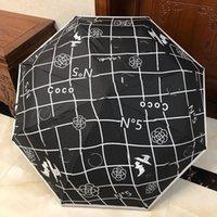 고급스러운 흑백 접이식 우산 간단한 스타일 편지 큰 꽃 동백 원형 핸들 우산