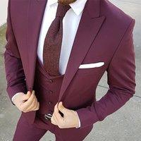 Costumes Hommes Blazers Custom Custom Groomsmen Burgundy Groom Tuxedos Peak Homme Hommes Mariage Homme Mariage (Veste + Pantalon Vest Tie)