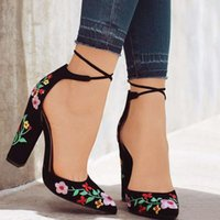 Sandals Women High Heels Plus Size Embroidery Pumps Flower Ankle Strap Shoes Female Two Piece Sexy Party Wedding Pointed Toe