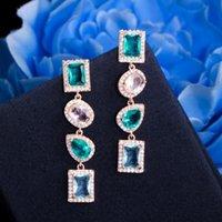 Dangle Chandelier Shiny Drop Multicolor Blu Cubic Zirconia Crystal Long Orecchini per le donne 585 Gold Boho Party Jewelry CZ911