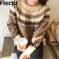 Flectit Fair Insel Pullover Frauen Langarm Rundhalsausschnitt Gemütliches Strick Herbst Winter Warme Pullover * LJ201112