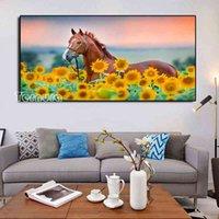 DIY живопись крестом стежка подсолнечника животное лошадь рисунок полной квадратной дрель алмазная вышивка горный хрусталь мозаика