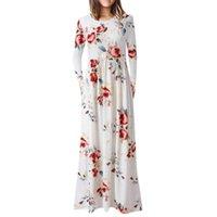 Casual Dresses JAYCOSIN S-2XL Elegant Women Robe Summer 2021 Long Sleeve Print Maxi Pockets Dress Sexy Boho Vestidos Drop