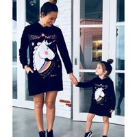 Ladies Hoodies Sweatshirts Unicorn Printing Womens Family Matching Mommy and Me Pullover Outfits