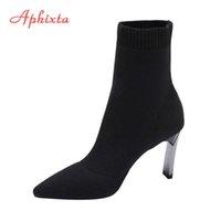 Aphixta Black Knitting Elastic Women Socks Boots Shoes Elegant Metal Thin High Heel Pointed Toe Ankle for