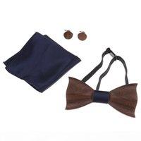 1 مجموعة خشبية التعادل جيب مربع أزرار أكمام الخشب القوس التعادل الرجال اكسسوارات الزفاف أزياء خشبية القوس العلاقات مجموعة