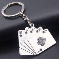남자를위한 키 체인 자동차 가방 열쇠 고리 스테인레스 스틸 쥬얼리 스트레이트 플러시 텍사스 홀덤 포커 카드 선물 패션