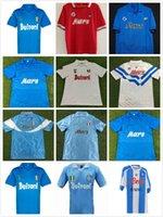 1988/1989 Napoli Away Soccer Jerseys 86/87 88/89 Red Maradona Careca Retro Hemd Kurzarm Fußballuniform Verkauf