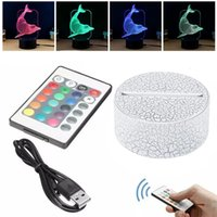 RGB Lights 3D Lamp Base 7 Colors Touch Remote Control Night light 4mm Acrylic Panel AA Battery or DC 5V USB Illusion Table Lamps for Home Bedroom Decoration