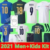 Itália 2021 Jersey de futebol Home 3rd Jorginho El Shaarawy Bonucci Insigne Bernardeschi Homens Adultos + Kit Kit Kit Jovem Criança 21 22 Camisas de Futebol
