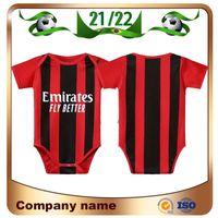 2021 Baby AC Milan Futebol Jerseys 21/22 Ibrahimovic Theo Rebic Paqueta Romagnoli Calhanoglu Cutrone Kessie 9-18 Meses Camisa de Futebol Criança