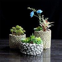 Silicone Molld Cement Stone Multi -Meat Flower Pots Desktop Pots 3d Vase Mold Concrete Molds Cement Planter Home Crafts Decorate 210225