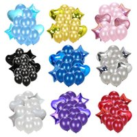 Party Decoration 12pcs 12 Inch Latex Balloons 2pcs Star Heart Foil For Wedding Birthday Kids Supplies