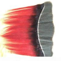 Oreille de cheveux vierges brésiliens à l'oreille de deux tons couleur 1b couleur orange ombre pleine dentelle fermeture frontale droite cheveux hétérophiches blanchies blanchies